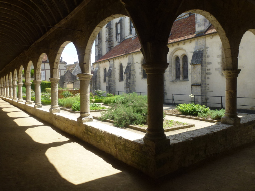 Medieval cloister and garden of the village of Donnemarie-Dontilly, close to Provins