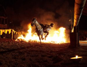 "Fire Horses, night show in the medieval town of Provins for the event ""Provins by Candlelight"""