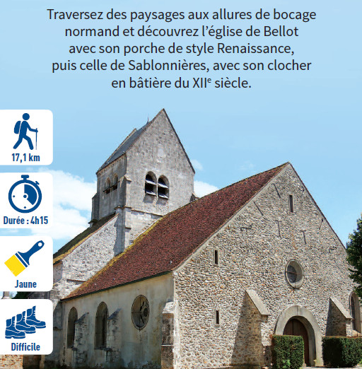 Église au fond d'un hameau, hiking circuit in the Valley of the Morin river, region of Provins