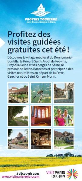 Les visites gratuites de l'été dans la cité médiévale de Provins, le Provinois, le Bassée-Montois et dans les Vallées des 2 Morin